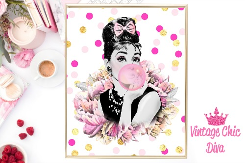 Audrey Floral Clear Pink Gold Confetti Background-