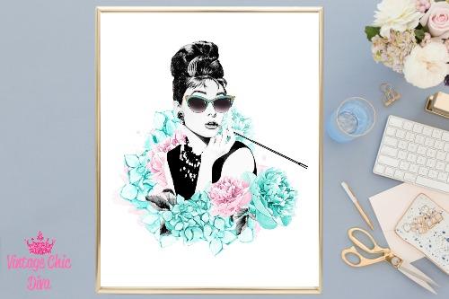 Audrey Hepburn Floral Glasses White Background-