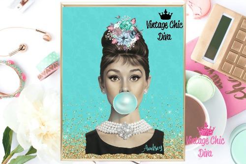 Audrey Hepburn Gold Glitter Teal Background-