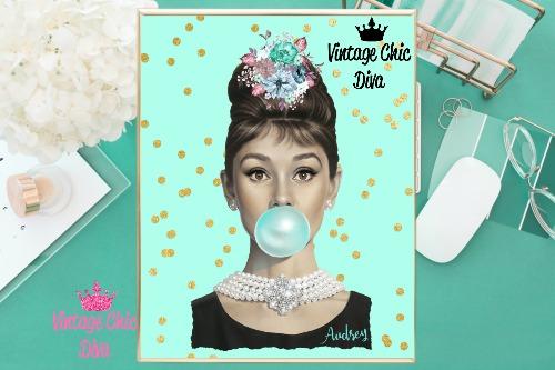 Audrey Hepburn Mint Gold Dots Background-