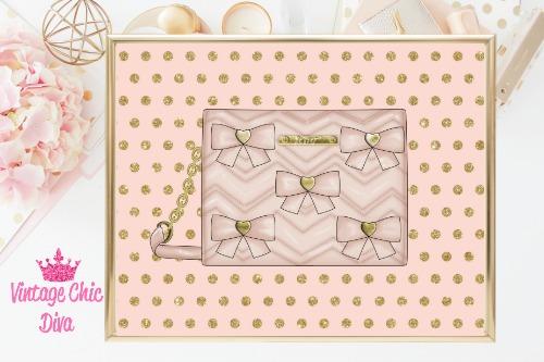 Betsey Johnson Blush Bow Purse Blush Gold Dots Background-