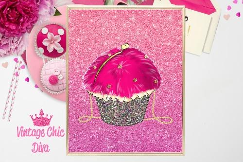 Betsey Johnson Cupcake Purse Pink Glitter Background-