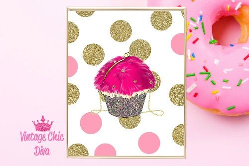 Betsey Johnson Cupcake Purse Pink Gold Dots Background-