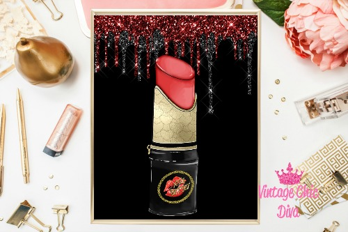 Betsey Johnson Lipstick Purse Black Red Glitter Drip Background-