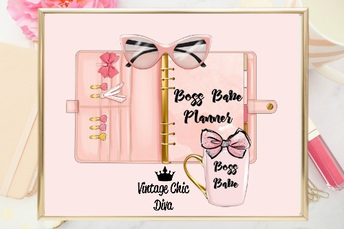 Boss Babe Planner Set Pink Pink Background-