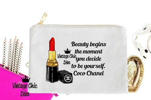 Chanel Red Lipstick Beauty Quote White-