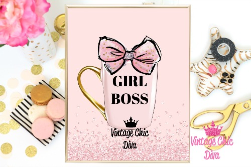 Girl Boss Mug Pink Pink Glitter Background-