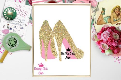 Gold Sparkle High Heels White Background-