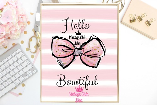 Hello Bowtiful Pink Pink White Background-