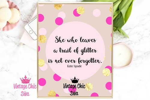 Kate Spade Quote1 Pink Gold Dots Background-