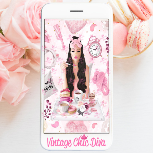 Pink Breakfast Girl4 Phone Wallpaper-