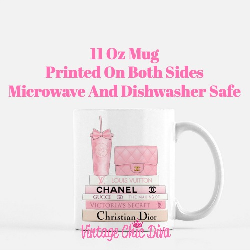Pink Love Chanel Starbuck Set2 Coffee Mug-