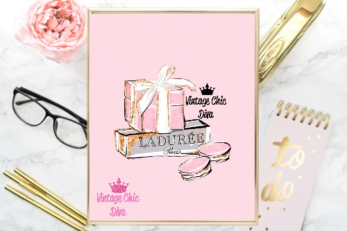 Pink Paris Macaron Set Pink Background-