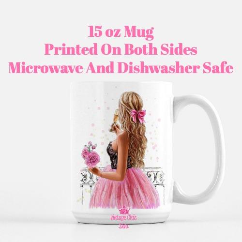 Pretty Pink Champagne Girl Coffee Mug-