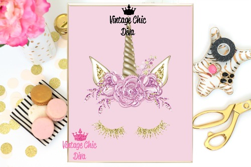 Unicorn Face13 Pink Background-