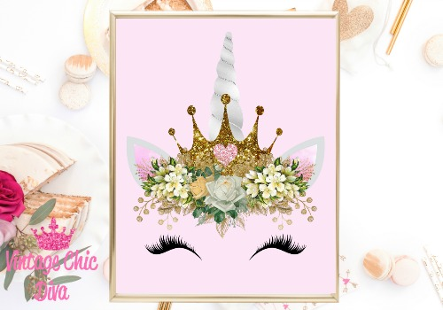 Unicorn Face Gold Glitter Crown Pink Background-