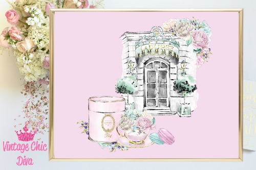 Laduree Paris Store Set Pink Background-