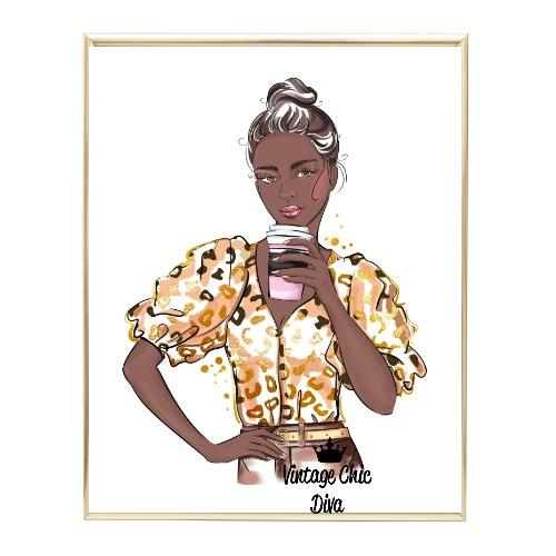 Animal Print Fashion Girl10 Wh Bg-