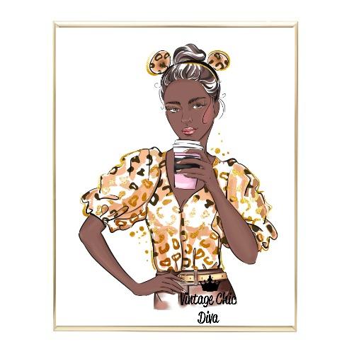 Animal Print Fashion Girl11 Wh Bg-