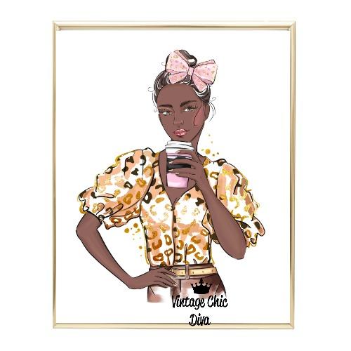 Animal Print Fashion Girl12 Wh Bg-