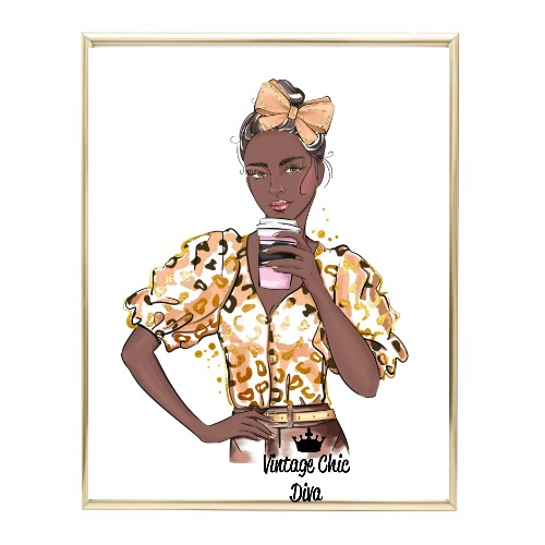Animal Print Fashion Girl13 Wh Bg-