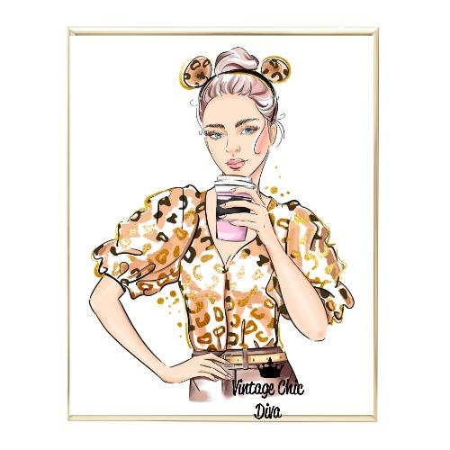 Animal Print Fashion Girl2 Wh Bg-