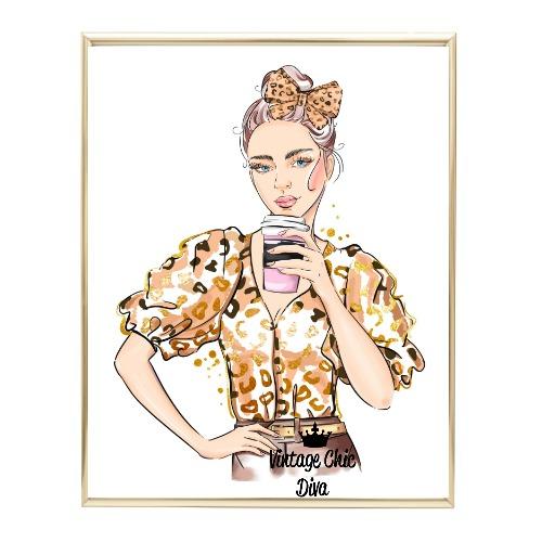 Animal Print Fashion Girl4 Wh Bg-