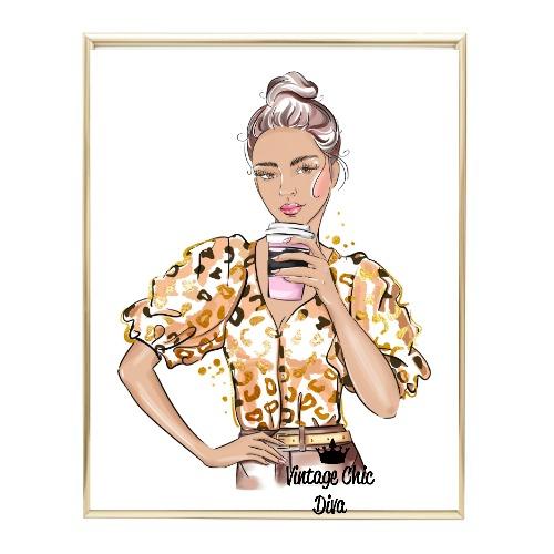 Animal Print Fashion Girl6 Wh Bg-