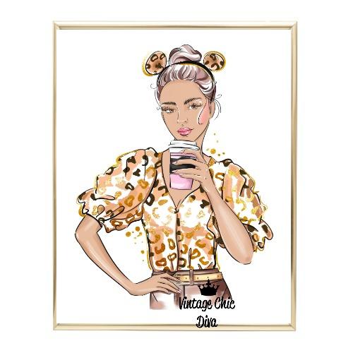 Animal Print Fashion Girl7 Wh Bg-