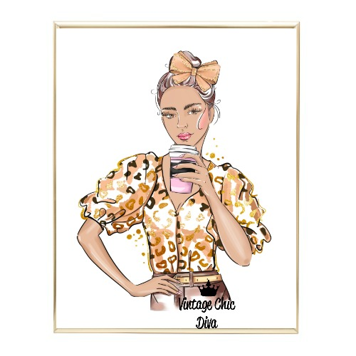 Animal Print Fashion Girl9 Wh Bg-