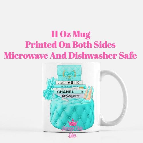Aqua Chanel Handbag Stool Set10 Coffee Mug-