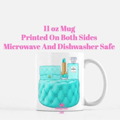 Aqua Chanel Handbag Stool Set1 Coffee Mug-