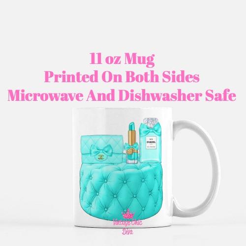 Aqua Chanel Handbag Stool Set2 Coffee Mug-