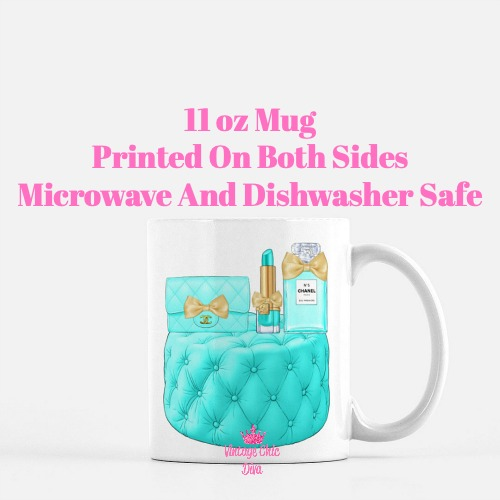 Aqua Chanel Handbag Stool Set3 Coffee Mug-