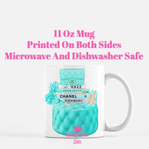 Aqua Chanel Handbag Stool Set7 Coffee Mug-