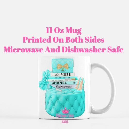 Aqua Chanel Handbag Stool Set9 Coffee Mug-