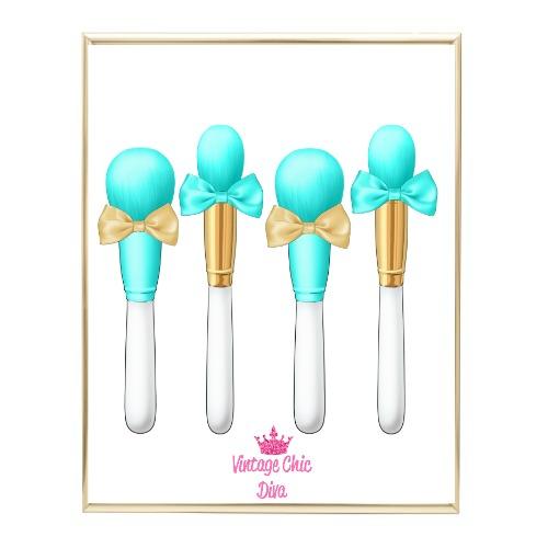 Aqua Glam Brush Set1 Wh Bg-