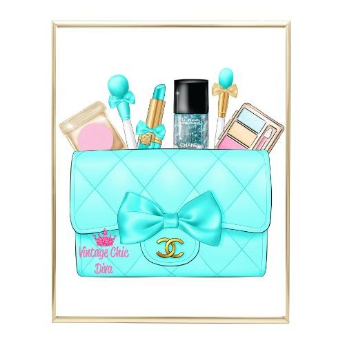 Aqua Glam Chanel Handbag22 Wh Bg-