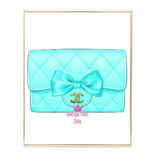 Aqua Glam Chanel Handbag2 Wh Bg-