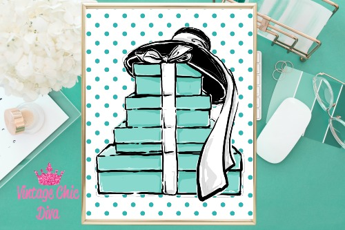 Audrey Boxes Hat Teal Dots Background-