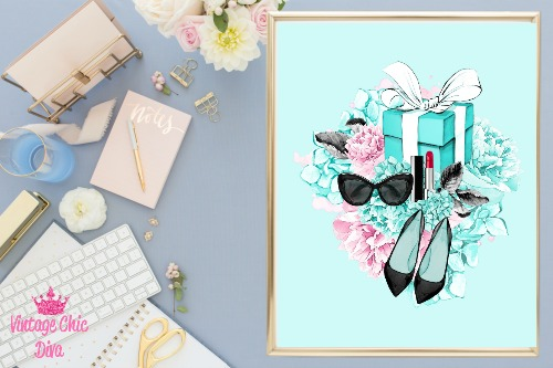 Audrey Hepburn Breakfast At Tiffany Set Floral Teal-