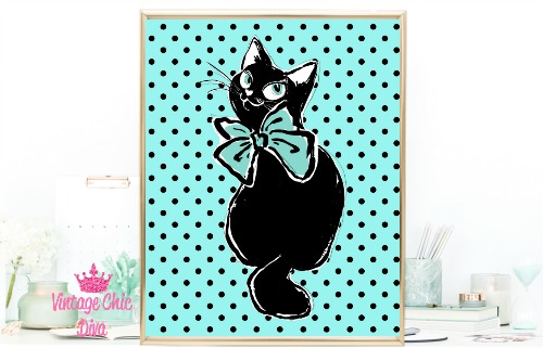 Audrey Cat Black Dots Teal Background-