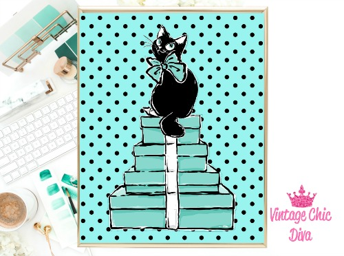 Audrey Cat Boxes Black Dots Background-