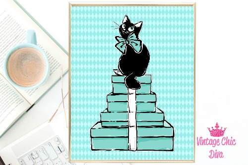 Audrey Cat Boxes Teal Diamond Background-