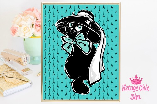 Audrey Cat Hat Eiffel Tower Teal Background-
