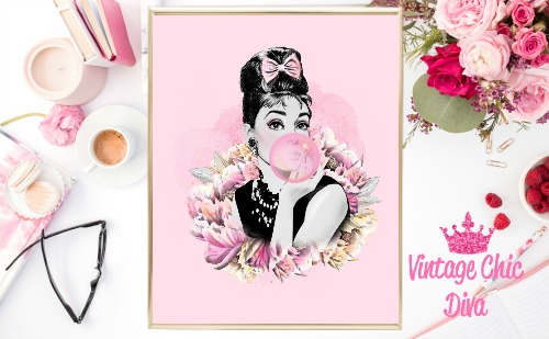 Audrey Floral Pink Background-