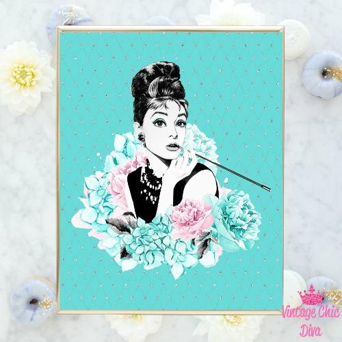 Audrey Hepburn Floral Teal Silver Background-