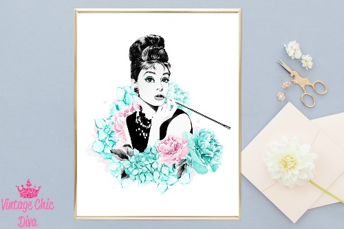 Audrey Hepburn Floral White Background-