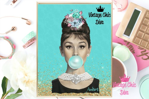 Audrey Hepburn Gold Glitter Teal Background-