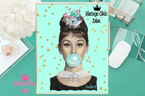 Audrey Hepburn Mint Gold Dots Background-